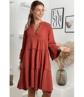 Desert boho dress short terracotta