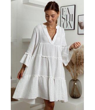 Desert boho dress short white