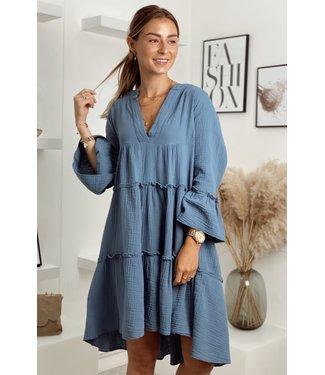 Desert boho dress short blue