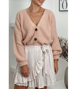 Ruffle satin skirt blush nude