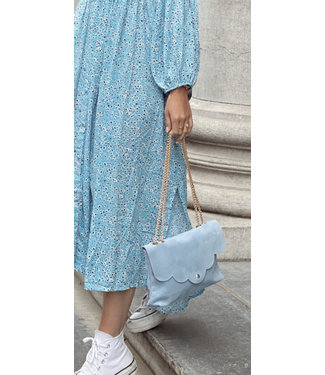 Sky blue suede bag
