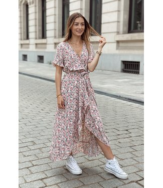 Pink floral taille strap maxi dress