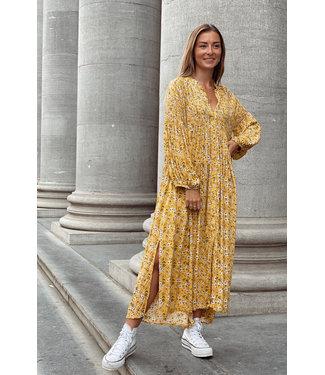 Fleur split dress yellow
