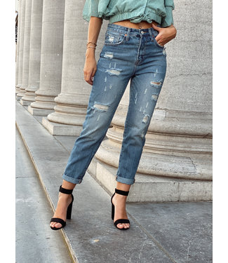 Denim mom jeans semi color