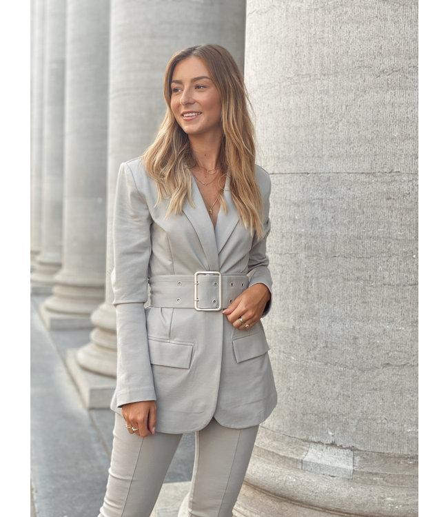 Shoulder pad jersey blazer grey