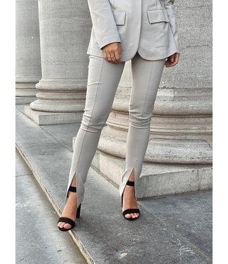 Front split jersey pants grey