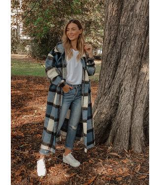 She's Milano x MAXI checked coat queen blue