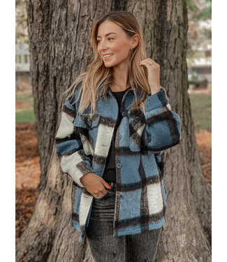 She's Milano x SHORT checked coat steel blue