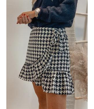 Pied de poule wrap over skirt