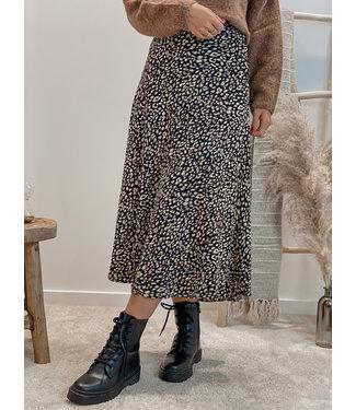Soft printed skirt black