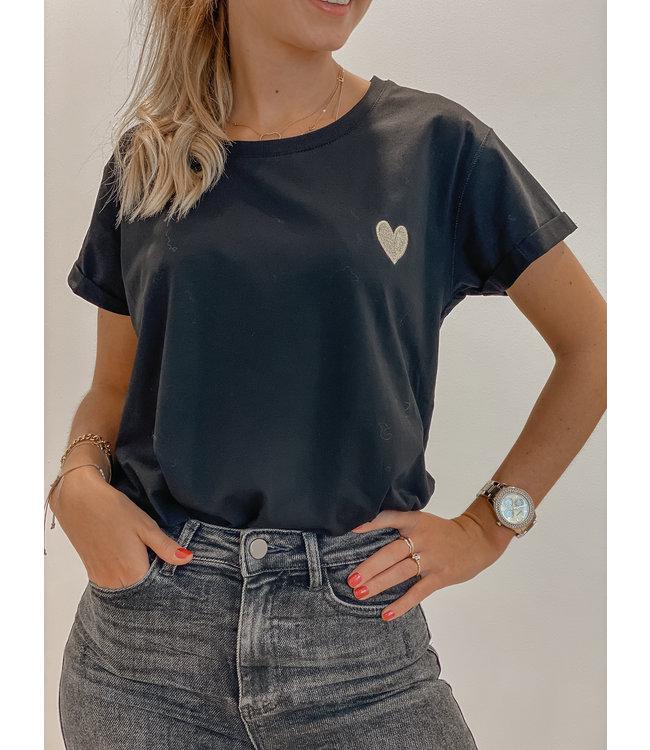Golden heart t-shirt black