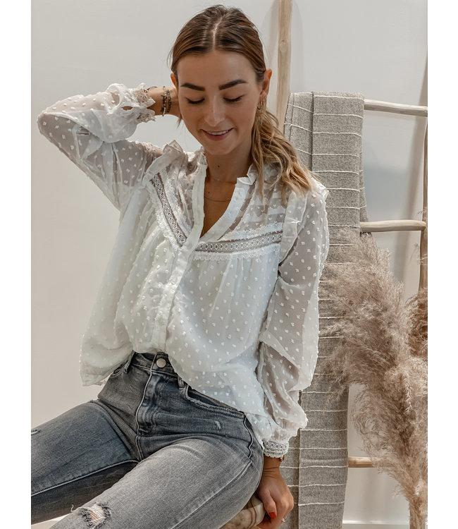Lace swiss dot blouse white