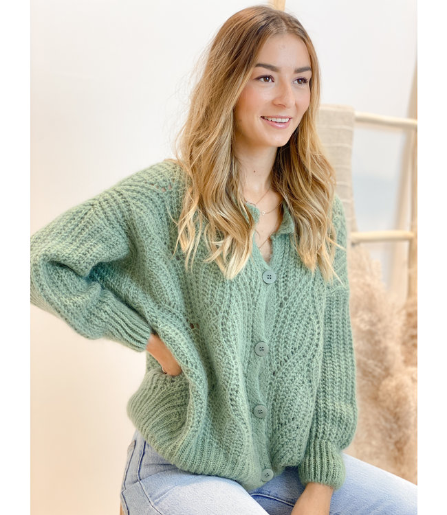 She's Milano x knitted cardigan forest green