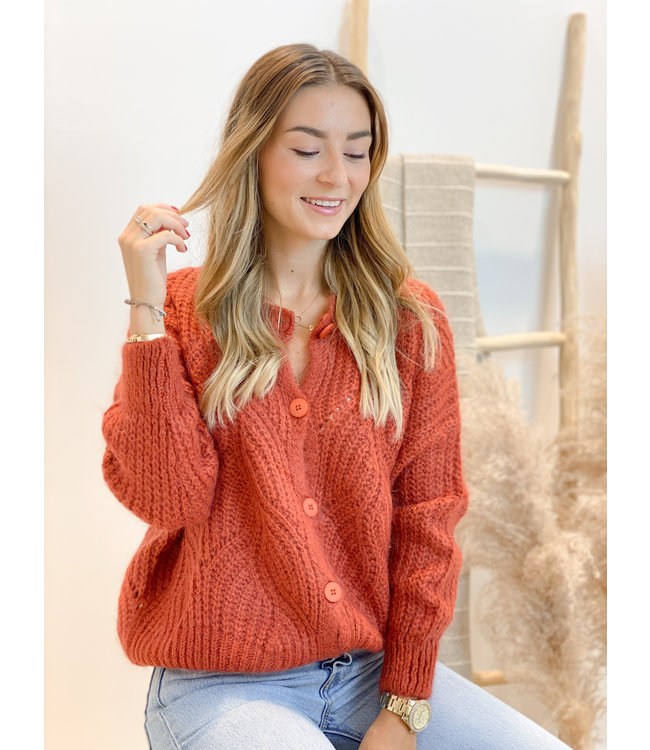 She's Milano x knitted cardigan terracotta