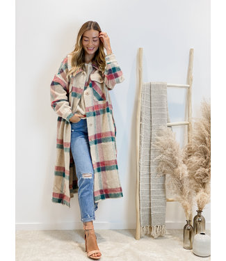 She's Milano x MAXI checked coat forest red