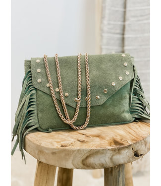 Suéde fringle bag moss green