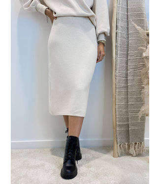Knit skirt midi - ecru