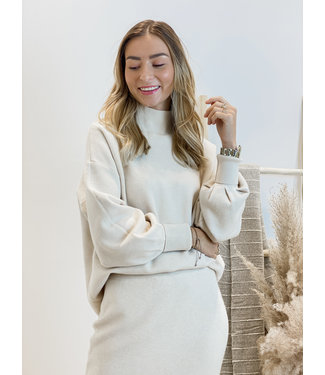 Knit sweater with collar - ecru