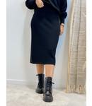 Knit skirt midi - black