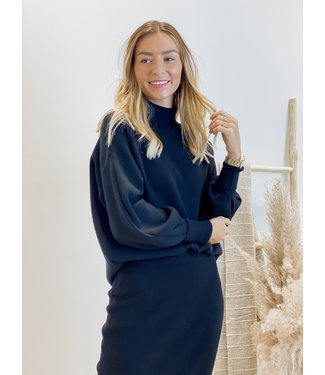 Knit sweater with collar - black