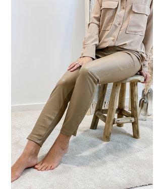 Leather pants side zip - camel
