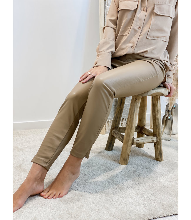 Leather pants side zip - camel