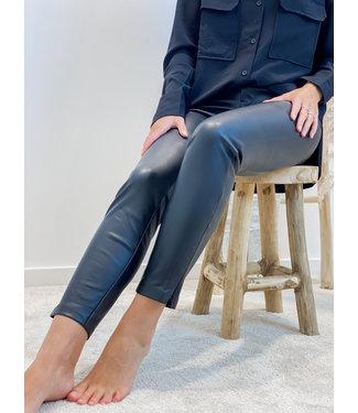 Leather pants side zip - black