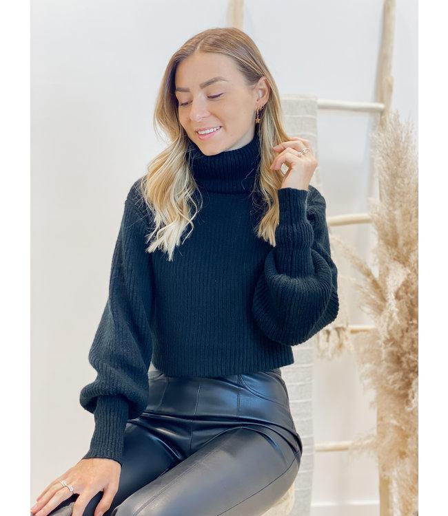 Oversized rollneck sweater short black