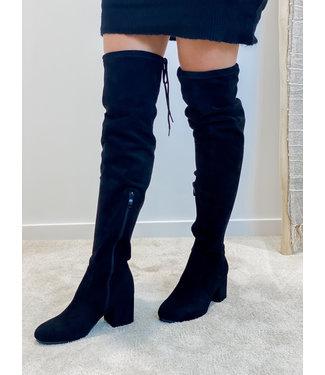 Suede overknees boots black