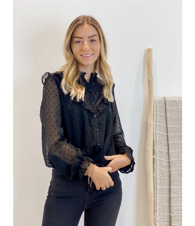 Lace collar swiss dot blouse black