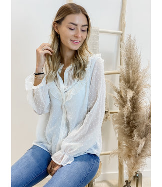 Lace collar swiss dot blouse white