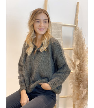 She's Milano x knitted cardigan uniform dark green