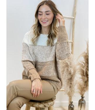 Stripe sweater camel