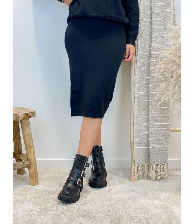 Gebreide rok midi - zwart