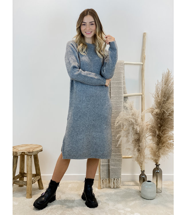 Yasmine ribble dress - grey