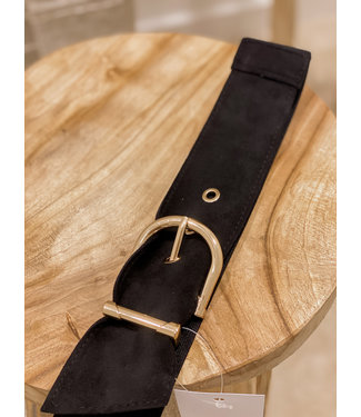 Suede belt black 1