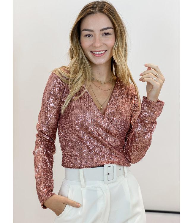 Glitter crop top - rosé