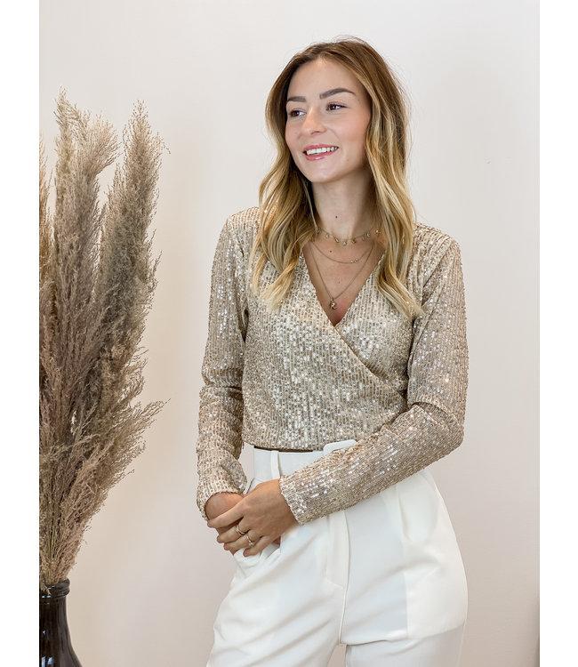 Glitter crop top - gold