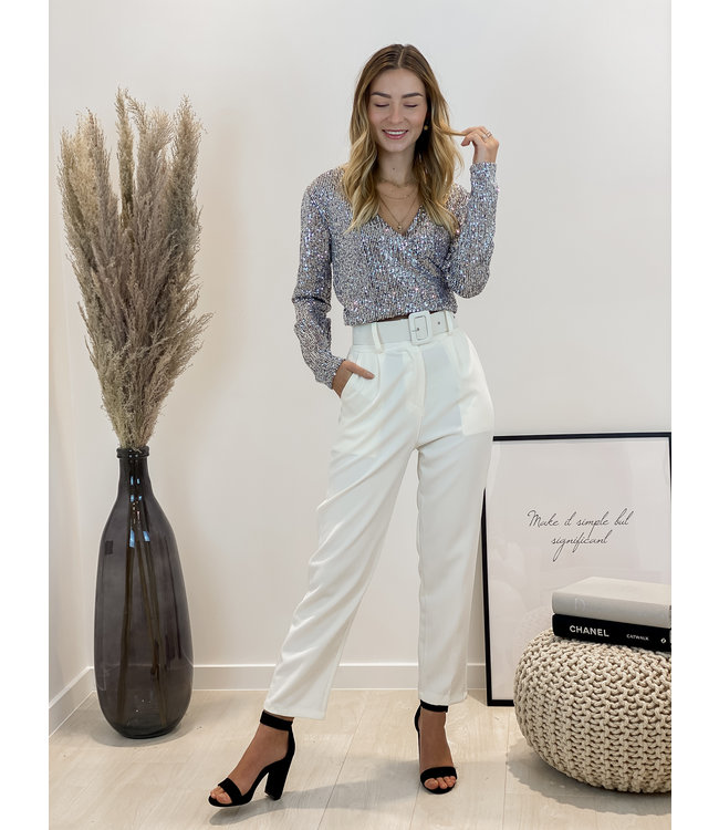 Classic belt trouser - white