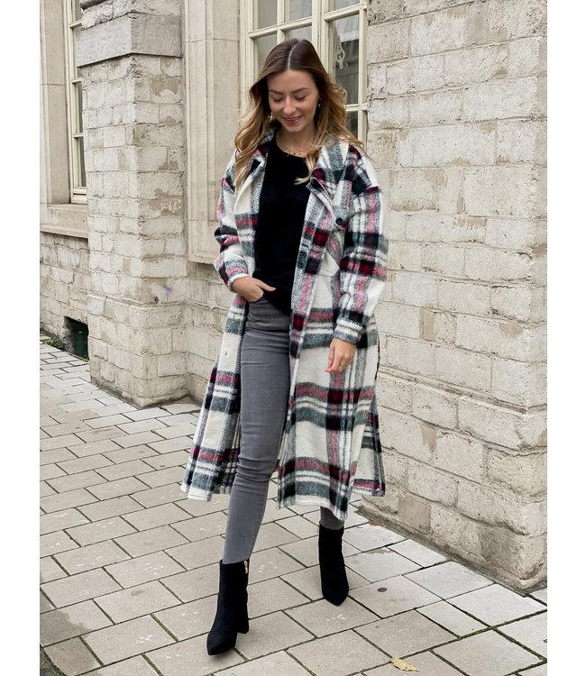 She's Milano x MAXI checked coat cherry white