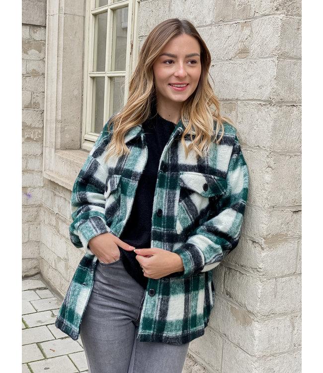 She's Milano x SHORT checked coat woody green