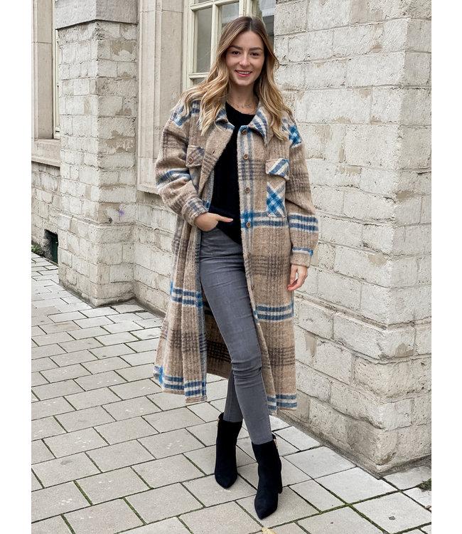 She's Milano x MAXI checked coat hazelnut petrol
