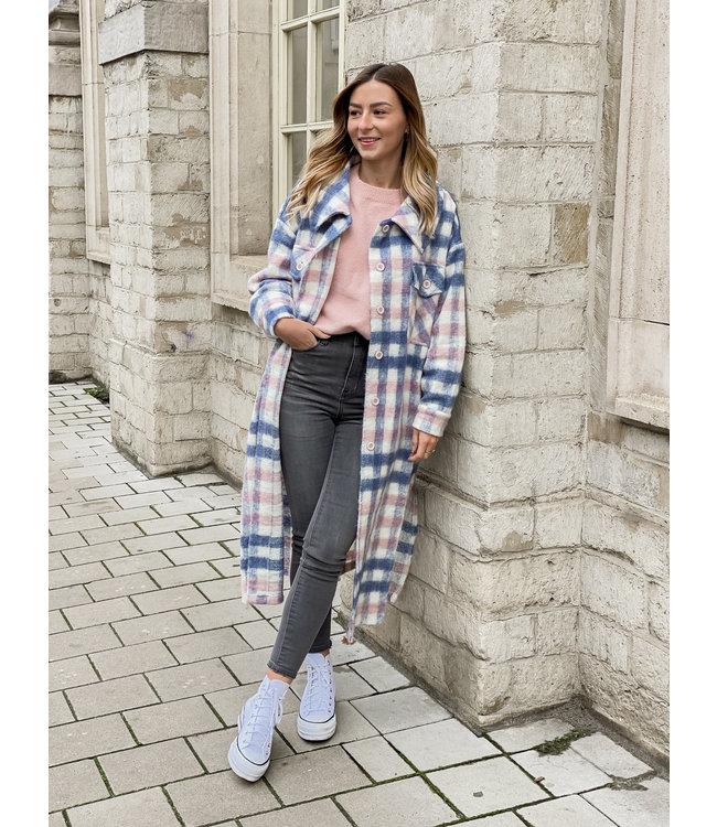 She's Milano x MAXI checked coat blueberry pink