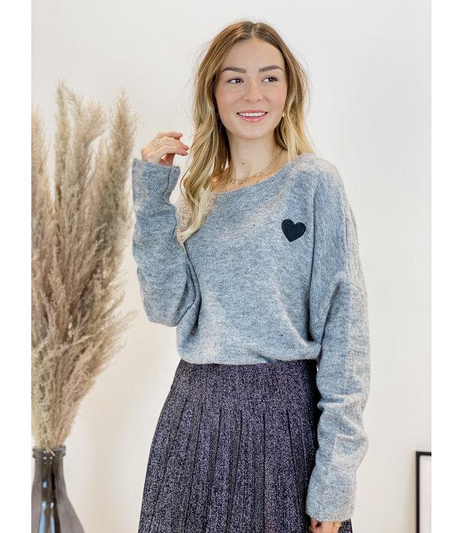 Soft heart sweater - grey