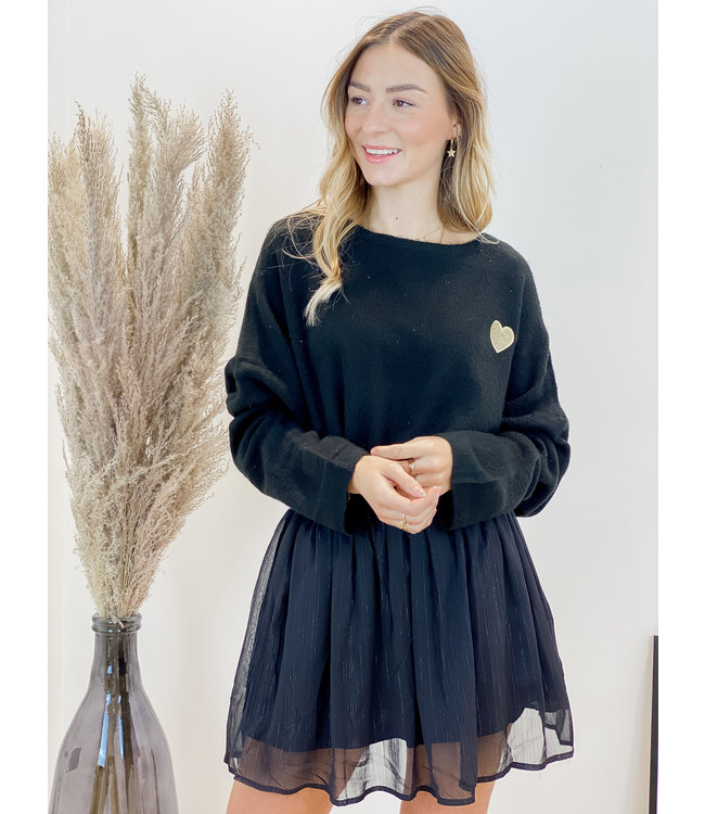 Soft heart sweater - black
