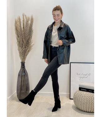 Leather button shirt - black