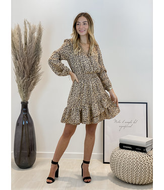 Printed detail dress - camel