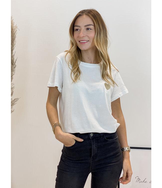 Golden heart t-shirt white