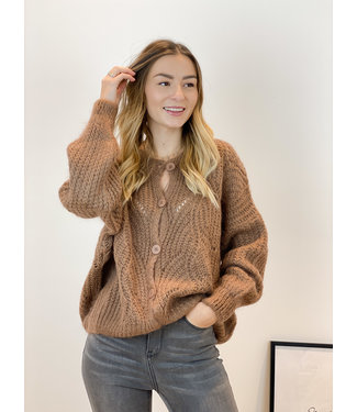 She's Milano x knitted cardigan Chocolat