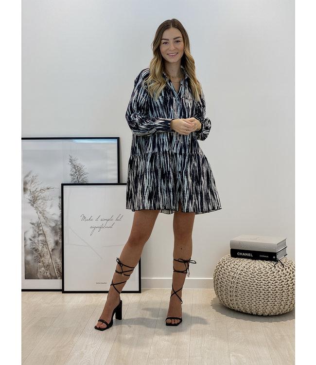 Contrast smock dress - black